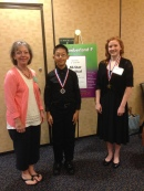 Linda Bryan with the All Star Festival medal winners: Ryan Chen and Natalie Carey.